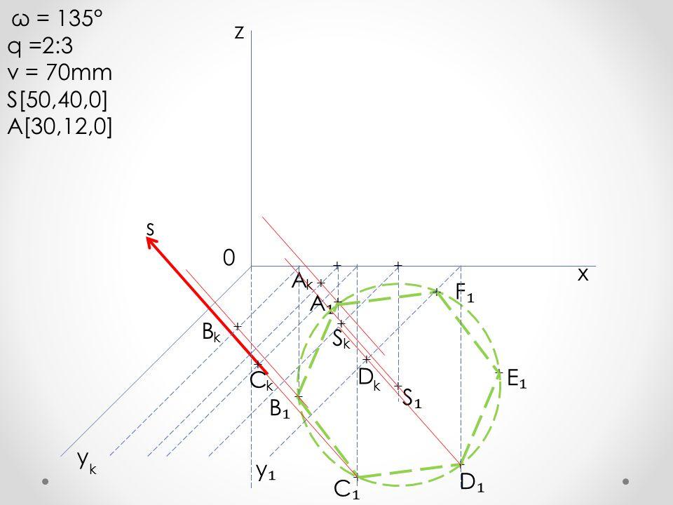 q =2:3 z v = 70mm S[50,40,0] A[30,12,0] s x A F₁ A₁ B S D C E₁ S₁ B₁ y